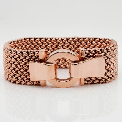 Magnificent Heavy Chunky 1930 Woven Strap 18 KT Rose Gold  Buckle Bracelet