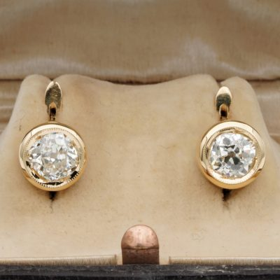 Stunning Victorian  1.58 Ct  Old Mine Cut Diamond Solitaire 18 KT Earrings
