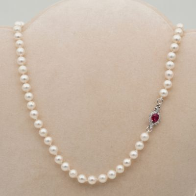 Charming Vintage Single Strand Japanese Pearl Necklace with Ruby Diamond Clasp