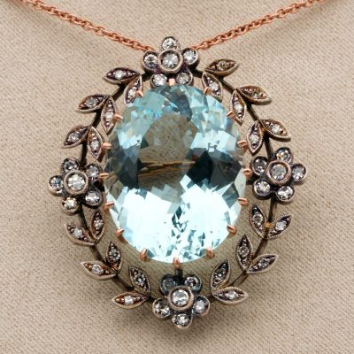 Edwardian Large 35.0 CT Natural Aquamarine 1.50 Ct Diamond Rare Brooch Pendant