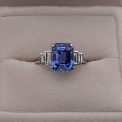 Unheated 5.36 Ct Ceylon Sapphire .70 Ct Diamond Platinum Engagement ring