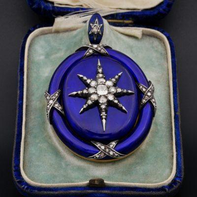 Georgian 4.20 Ct Diamond Star-burst Blue Enamel Large Celestial Locket 1800 ca