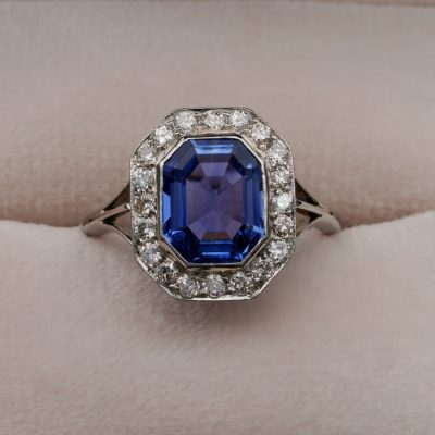 Edwardian Certified 2.70 Ct No Heat Ceylon Sapphire Diamond Platinum Ring