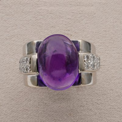 Art Deco Bold 10.00 Ct Natural Amethyst Diamond 18 KT Ring