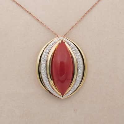 Mid Century Pop Art Large 67.00 Ct Red Coral  2.90 CT Diamond Brooch Pendant
