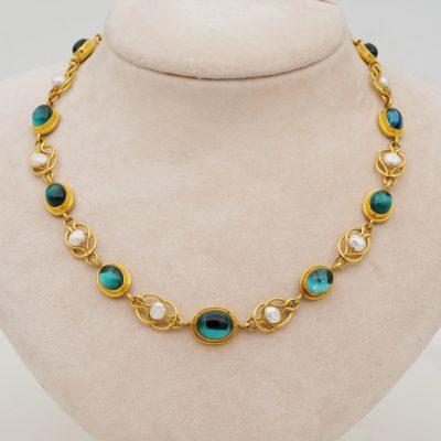 22 KT Antique Etruscan Revival Tourmaline Pearl Rare Riviere Necklace
