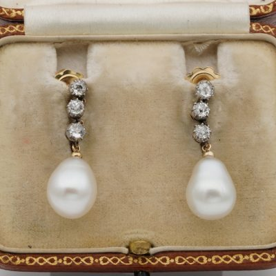 Gorgeous Victorian .80 Ct Diamond Salt Water Antique Pearl Earrings