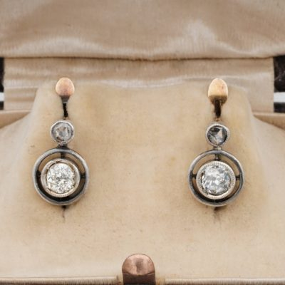 Victorian .80 Ct Diamond Solitaire Pretty Target Earrings