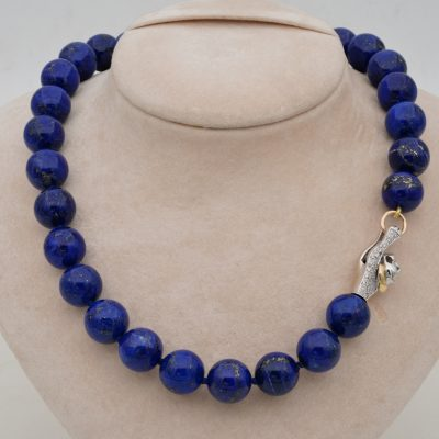 Jumbo Sized Vintage Natural Lapis Lazuli Diamond Panther Necklace