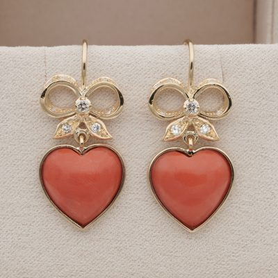 Charming Vintage Coral Bow Heart Diamond Drop Earrings Solid 18 KT