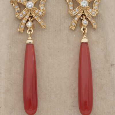Gorgeous .70 Ct Diamond Bow Red Sardinia Coral Drop earrings 18 KT Gold