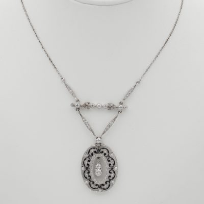 Edwardian 1.90 Ct Diamond Enamelling Finest Negligee Platinum Necklace