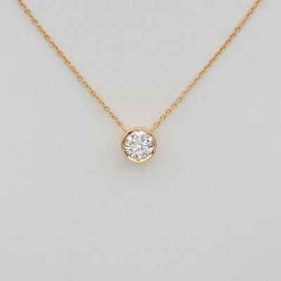 Estate Classic .70 Ct G VVS Diamond pendant plus chain necklace
