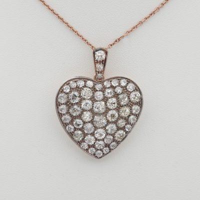 Victorian 9.0 Ct Old Mine cut Diamond Large Sentimental Heart Pendant