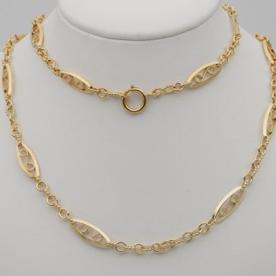 French Antique Victorian Sautoir  Chain Sterling Silver 18ct Gold Gilt
