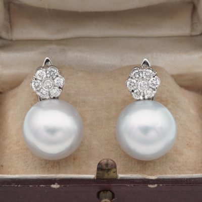 Beautiful 14 mm. South Sea Pearl .70 Diamond Floret Top Vintage earrings
