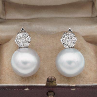 South Sea 14 mm. Pearl .70 Diamond Floret Top Vintage earrings