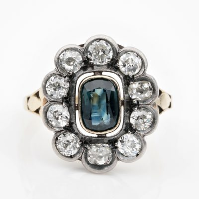 Victorian 1.0 Ct Natural Unheated Sapphire 1.55 Ct Old Mine Diamond Cluster ring