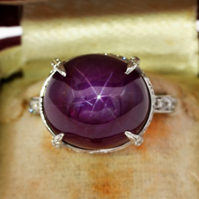 Fine Solitaire 19.0 Ct Natural Burma Unheated Star Ruby .60 Ct Diamond Ring