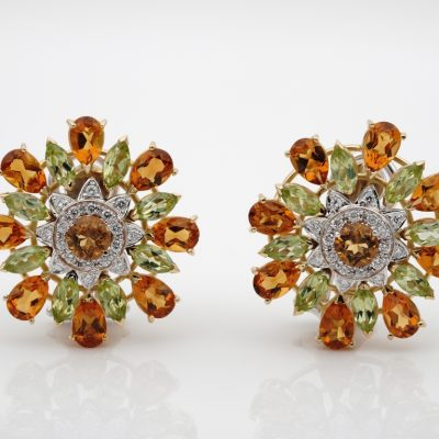 Outstanding Retro Large Flower Citrine Peridot and Diamond Earrings