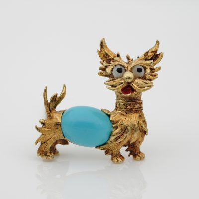 Gorgeous Mid Century Turquoise Dog Brooch 18 KT