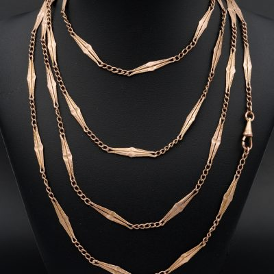 VICTORIAN FANCY LINKS LONG GUARD CHAIN SOLID ROSE GOLD GENUINE 1890 CA!