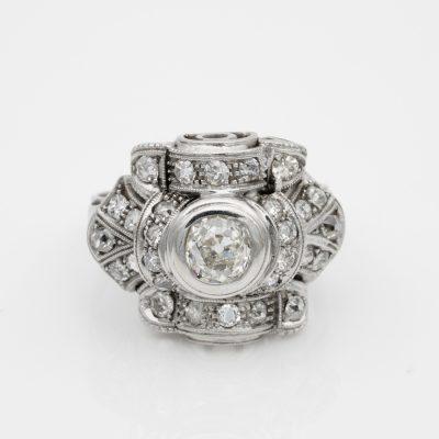 GENUINE ART DECO ALL PLATINUM 1.75 CT DIAMOND COCKTAIL RING 1920 CA!
