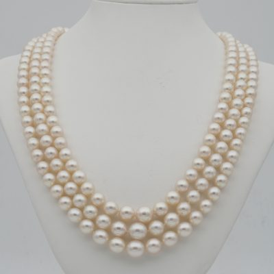 Antique Art Deco Triple Strand Pearl Necklace Sapphire Diamond Clasp