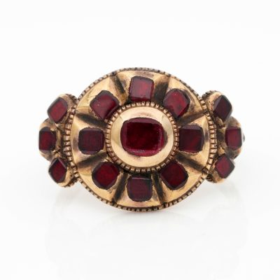 Rare Georgian Iberian Table Cut Red Garnet 18 Kt gold