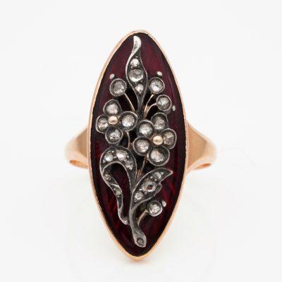 French 1780 ca Georgian Period Red Enamel Diamond Giardinetti ring