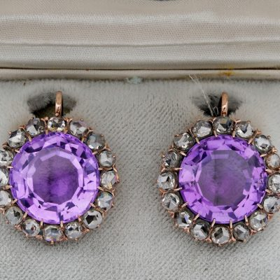 Victorian Rare Large Sized Amethyst 3.20 Ct Rose Cut Diamond Earrings