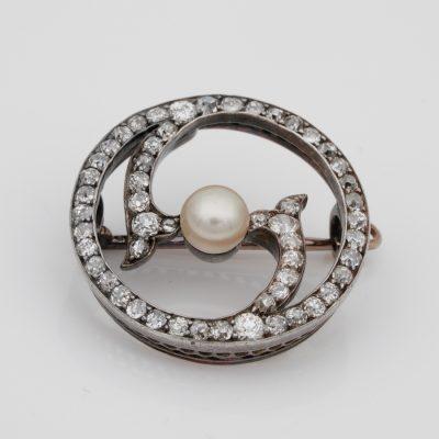 Victorian 2.90 Ct Old Mine Diamond Natural Pearl Brooch Pendant