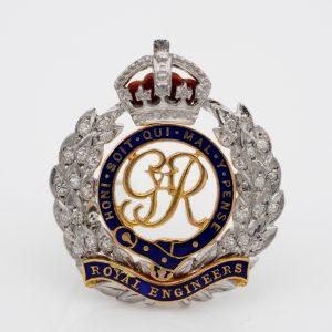 Antique English Diamond Royal Engineers Badge Brooch Platinum 18 Kt gold