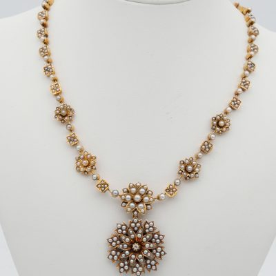 Early Victorian rare 18 KT  Split Pearl Necklace and Brooch Pendant