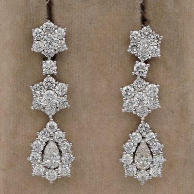 Superb Quality 4.90 Ct F/G VVS Diamond Mid Century Drop Earrings