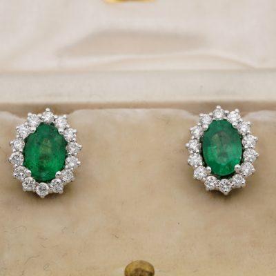Vintage 1.40 Ct Emerald .85 CT G VVS Diamond Cluster Stud Earrings