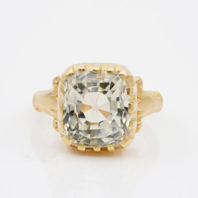 French Victorian 11.42 Ct Natural Unheated Yellow Ceylon Sapphire Cert. Solitaire ring