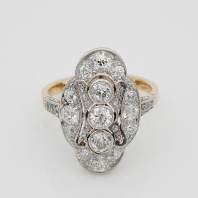 Beautiful Belle Epoque 2.15 Ct Diamond Panel Ring Plat /Gold French Import marks