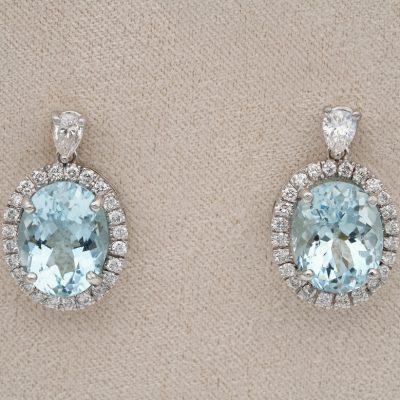 Vintage 8.00 Ct Natural Aquamarine 1.20 Ct Diamond Drop Earrings 18 KT