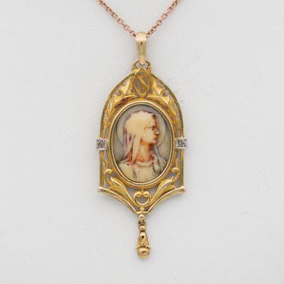 Antique Art Nouveau Virgin Mary Beautiful Pendant 18 KT