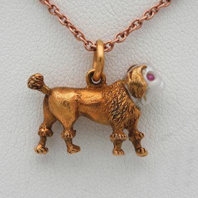 Georgian – Regency Little Dog Fob Pearl Ruby18 Kt gold