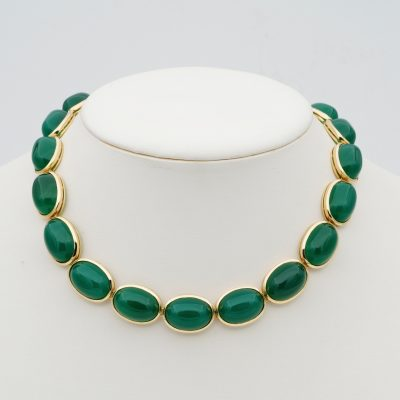 Vintage Mid Century 209.00 Ct Natural Chrysoprase 18 Kt Gold Rare Necklace