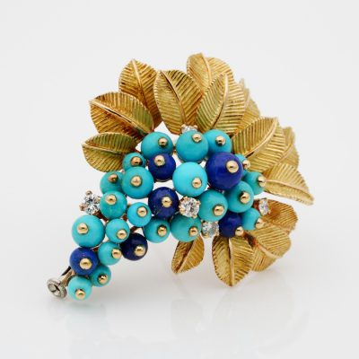 Beautiful Retro Cornucopia Turquoise Lapis Diamond Brooch 18 Kt gold