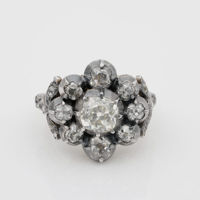 French Georgian 3.60 Ct Old Mine Diamond Important Antique Cluster Ring