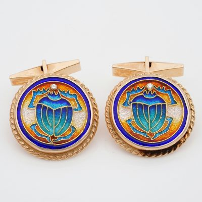 Art Deco Signed Scarab Enamelled Diamond 18 KT  Large Gent Cufflinks