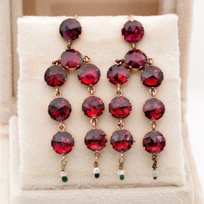 Georgian 12.00 Ct Rare Perpignan Garnet Drop Earrings 18KT