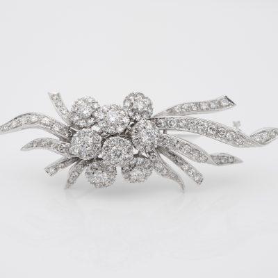 Glamorous 5.0 Ct Diamonds 50's Flower Spray brooch