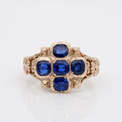 Regency 2.80 Ct Natural No Heat Sapphire Rare Ring Possibly French 18 KT