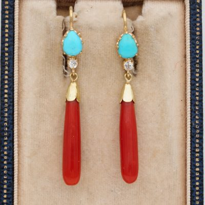 Victorian Persian Turquoise Diamond Coral Sweet Earrings 18 KT gold
