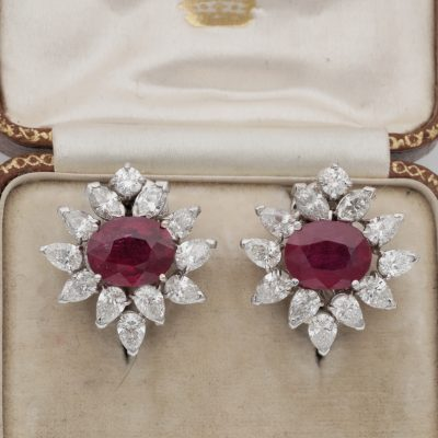 Natural 6.46 CT Ruby 4.60 Ct Diamond Mid Century Earrings